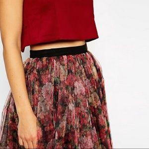 ASOS Skirts - ASOS Floral Tulle Midi Skirt, Size 4, NWOT